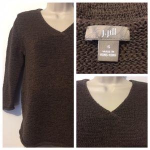 J. Jill Women's Size Small Brown Sweater V Neck